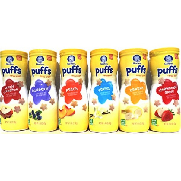 Gerber Graduates Puffs Cereal Snack, Variety Pack, Naturally Fla...