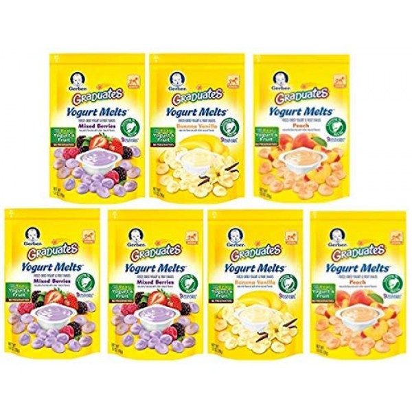 Gerber Graduates Yogurt Melts Snack Variety Pack, 1 Ounce Pack ...