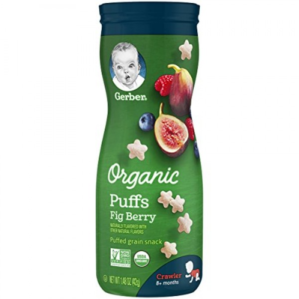 Gerber Organic Puffs Cereal Snack, Fig Berry, 6 Count