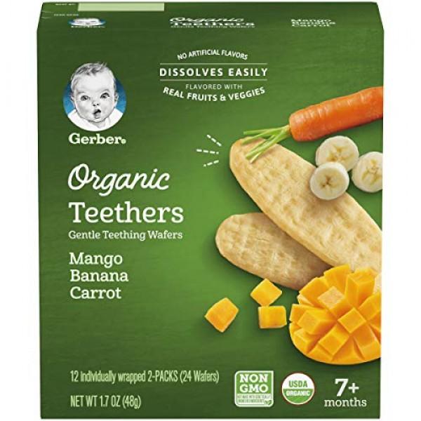 Gerber Organic Teethers Gentle Teething Wafers - Mango Banana Ca...