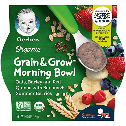 Gerber Purees Up Age Organic Grain & Grow Morning Bowl Oats Bar...