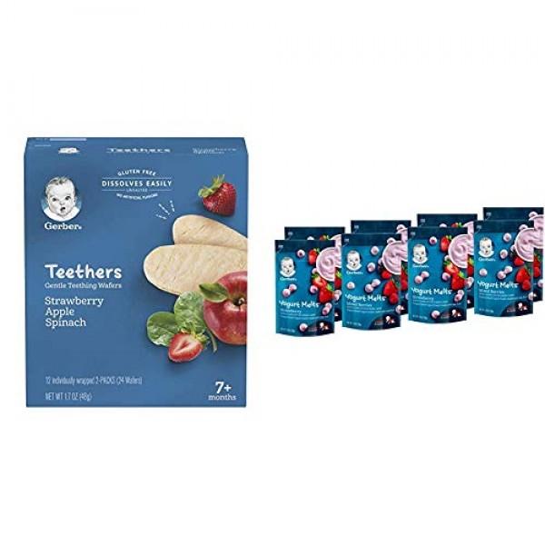 Gerber Teethers Gentle Teething Wafers - Strawberry Apple Spinac...