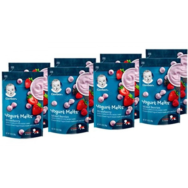 Gerber Yogurt Melts, Strawberry & Mixed Berry, 8 Count