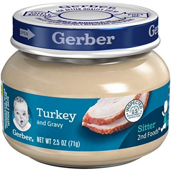Gerber 2nd Foods Meats, Turkey & Turkey Gravy, 2.5-Ounce Pack o...