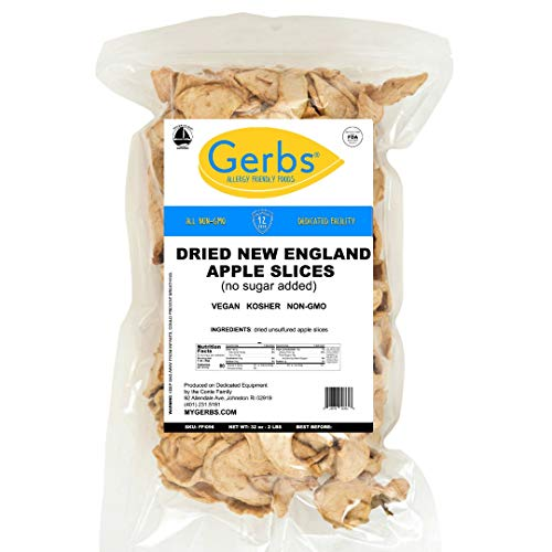 GERBS Dried New England Apple Slices, 32 ounce Bag, No Sugar Add...