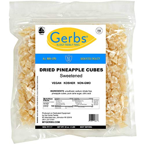 GERBS Dried Pineapple Cubes, 32 ounce Bag, Unsulfured, Preservat...