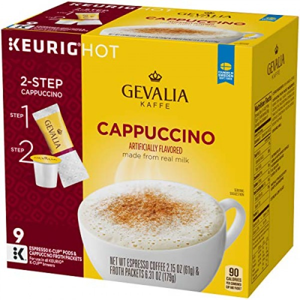 Gevalia Cappuccino Espresso K-Cup Coffee Pods 9 Pods and Froth ...
