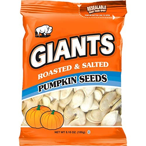 GIANTS Pumpkin Seeds, Roasted and Salted 5.15 oz. Package of 12