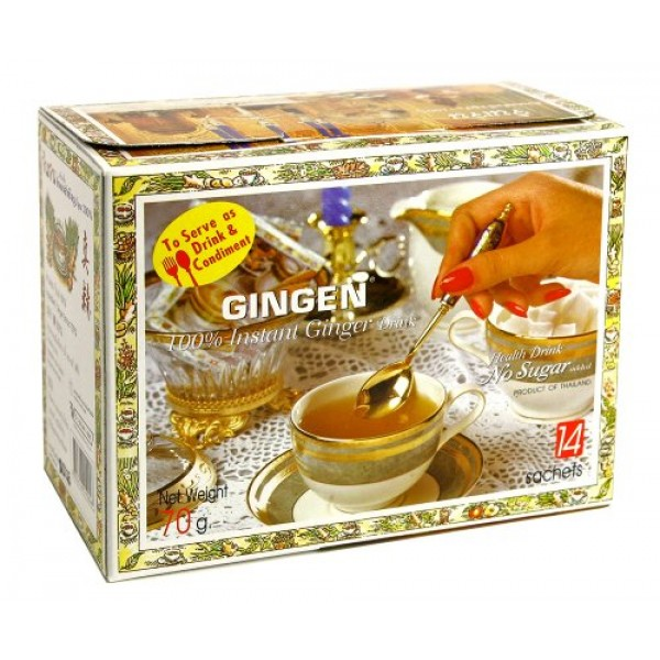 Instant Ginger Drink Thai Herbal Drink No Sugar Added 1 Box 14 S...