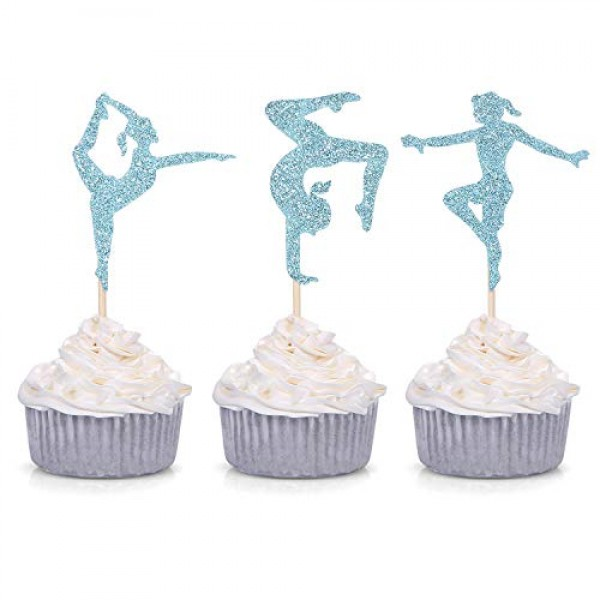 24 Blue Glitter Gymnastics Cupcake Toppers Gymnast Girl Birthday...