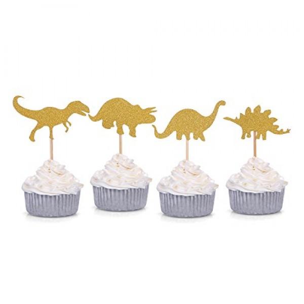 24 Counts Gold Glitter Dinosaur Cupcake Toppers Kids First Birt...