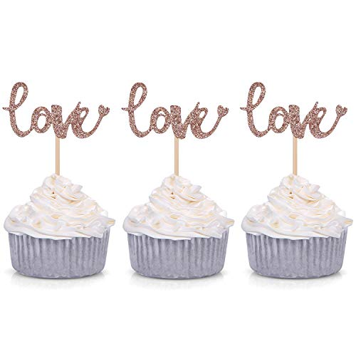 24 Glitter Love Cupcake Toppers Wedding Bridal Shower Engagement...