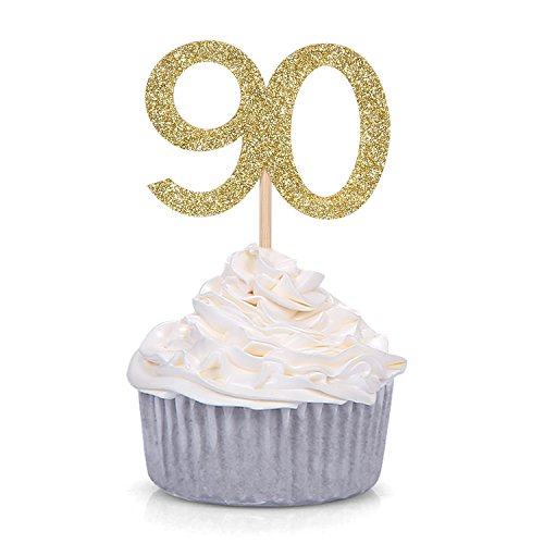 24 PCS Gold Number 90 Cupcake Toppers 90th Birthday and Annivers...