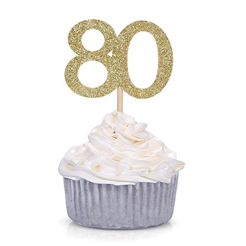 24 PCS Gold Glitter Number 70 Cupcake Toppers 80th Birthday and ...