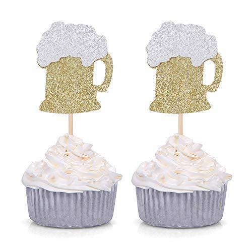 24 CT Gold Glitter Beer Mug Cupcake Toppers Wedding Luau Bachelo...