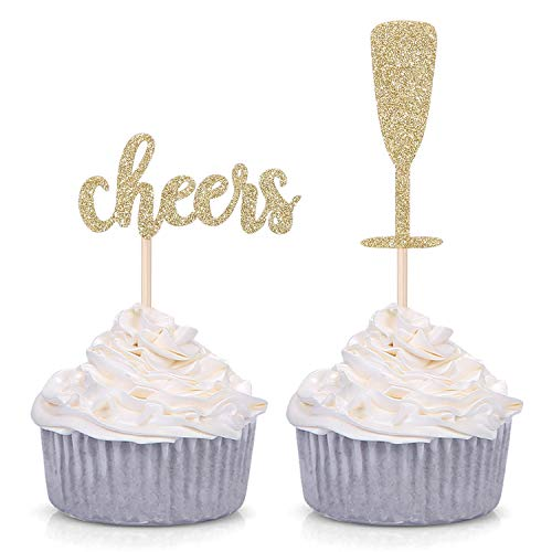 Pack of 24 Gold Glitter Cheers and Champagne Glasses Cupcake Top...