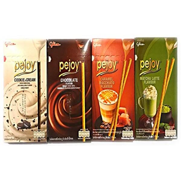 Glico Pejoy 4Flavour,Cookie&Cream,Chocolate,Caramel Macchiato,Ma...