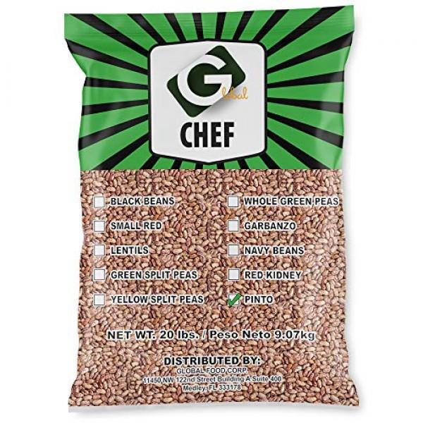 Global Chef - Dry Pinto Beans - 20 LBS Bulk Bag
