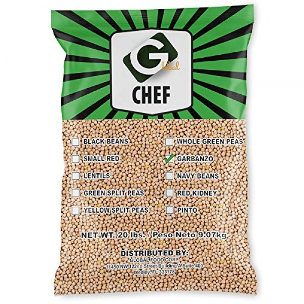 Global Chef - Garbanzo Beans - Chickpeas - 20 LBS Bulk Bag