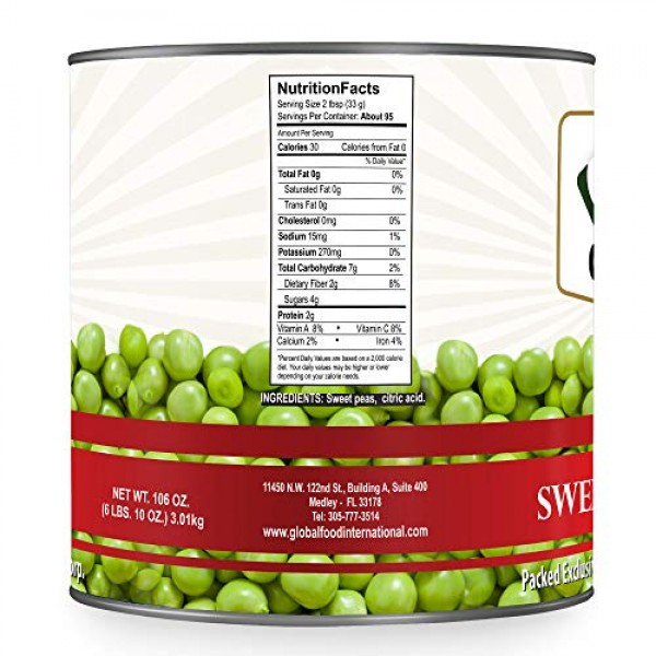 Global Choice - Green Peas - 100 oz - JUMBO size