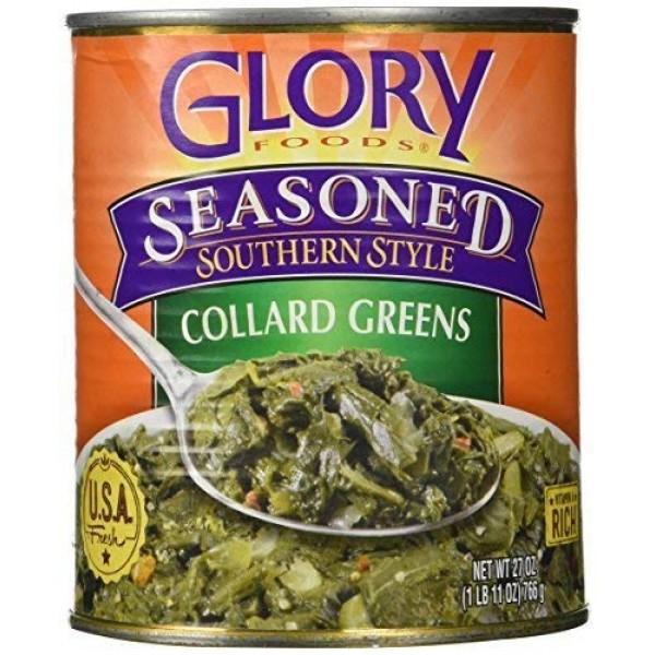 2 Cans of Glory Foods Seasoned Collard Greens 27 oz each