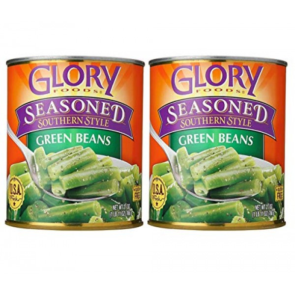Glory Foods Seasoned Southern Style Green Beans 2 Pack, Total o...
