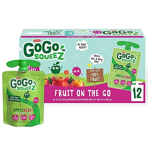 GoGo squeeZ Applesauce on the Go, Apple Berry, 3.2 Ounce Portabl...