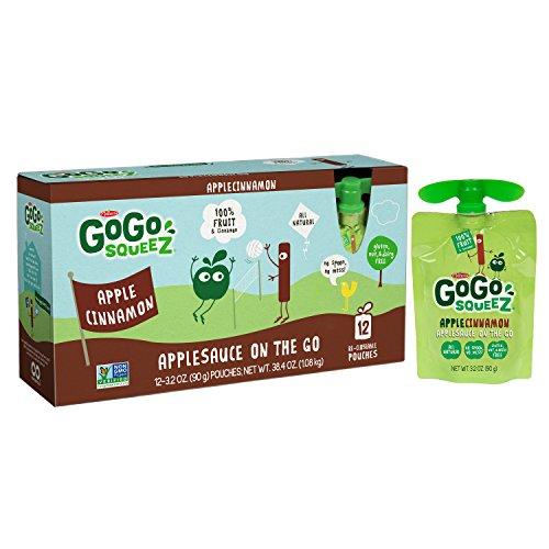 GoGo squeeZ Applesauce on the Go, Apple Cinnamon, 3.2 Ounce Port...