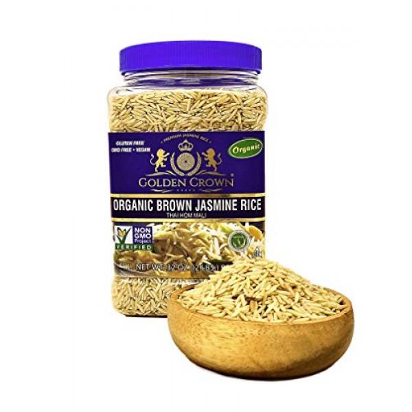Golden Crown Rice 2Lb Organic Brown Jasmine Rice 2lb
