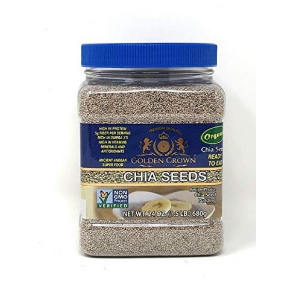 Golden Crown White Chia Seeds 24 oz Organic- Non GMO- Gluten F...