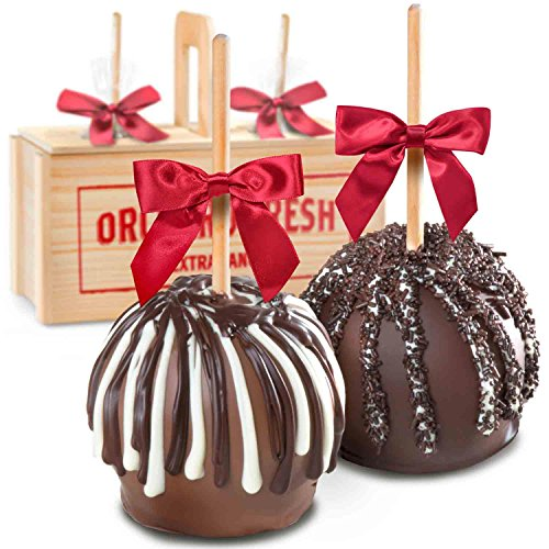 Milk and Dark Decadence Chocolate Dipped Caramel Apples in Woode...