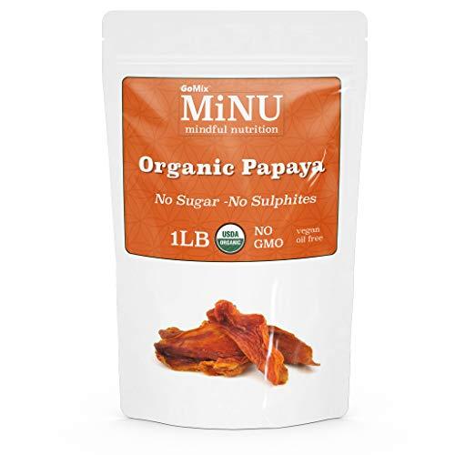 MiNU Organic Raw Dried Papaya 16 oz 1 lb #1 Paleo snack, MiNU...