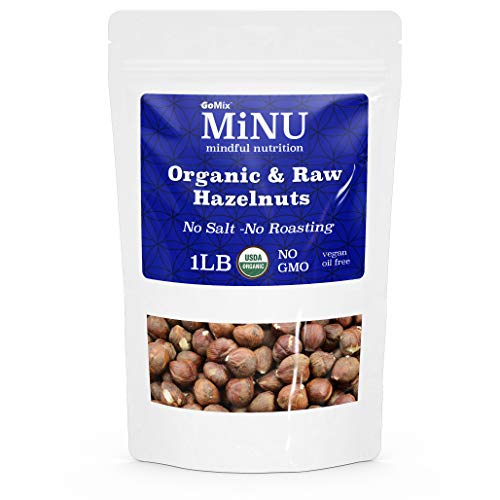 MiNU Raw Organic Hazelnuts, #1 Keto Paleo Snack, 16 oz 1 lb, M...
