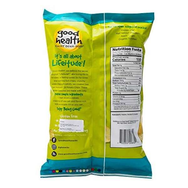 Good Health Kettle Style Avacodo Oil Potato Chips with Sea Salt,...