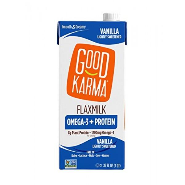 Good Karma Plant-Powered Flaxmilk, Vanilla Lightly Sweetened, 32...