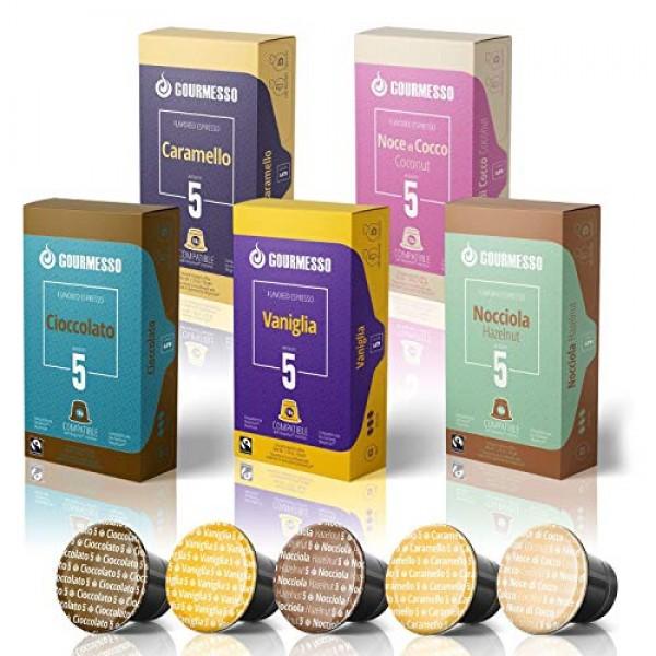 50 Fairtrade Flavored Espresso Capsules Compatible with Original...