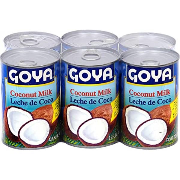 Goya Coconut Milk Leche De Coco Six 13.5 Ounce Cans