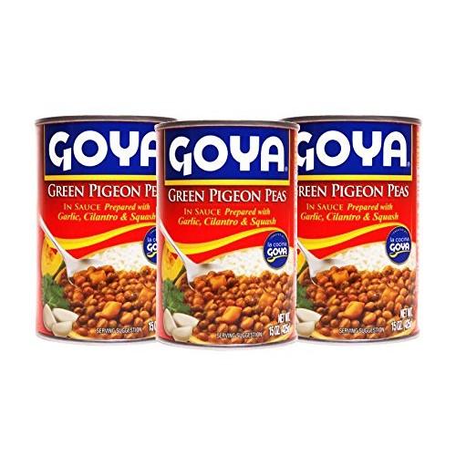 Goya Green Pigeon Peas in Sauce, 15 oz 3 pack prepared with Ga...