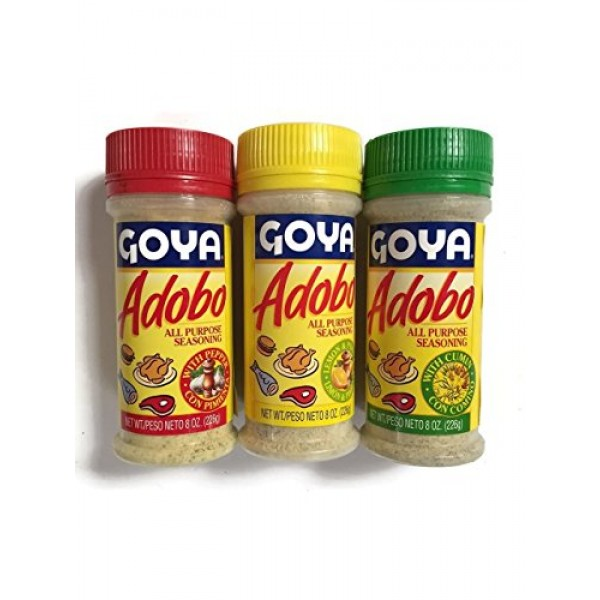 Goya Adobo seasoning,1 with Pepper, 1 with Cumin and 1 with Lemo...