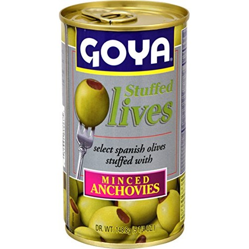 Goya Foods Manzanilla Olives Stuffed with Anchovies, 5.25 Ounce ...