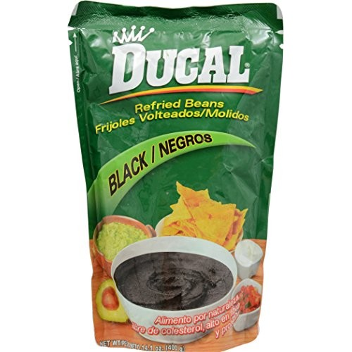 Ducal Black Refried Beans Pouch, 14.1 Ounce Pack of 18