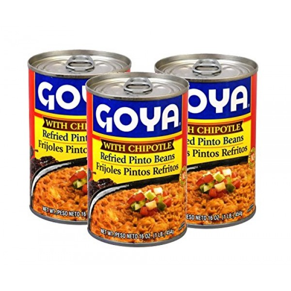 Goya Refried Beans with Chipotle 3 pack , 16oz, Frijoles Pinto...
