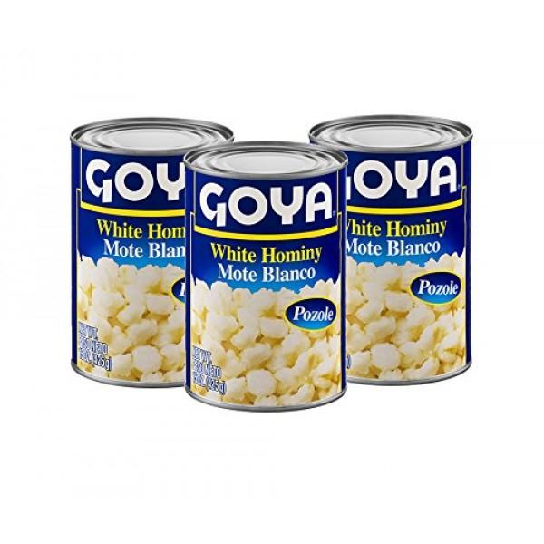 Goya White Hominy Corn, 15 oz, 3 cans Mote Blanco - Pozole