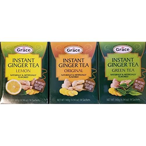 Grace Instant Ginger Tea Variety 3pk Ginger-Lemon-Green Tea