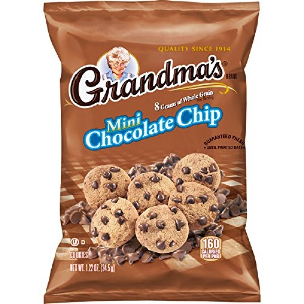 Grandmas Mini Whole Grain Chocolate Chip Cookies, 1.22 Ounce P...