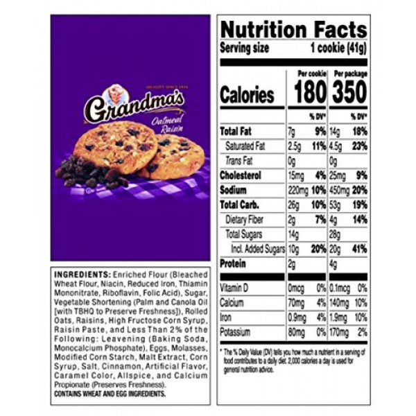 Grandmas Cookies Oatmeal Raisin Flavored 4 Packs 2 per pack