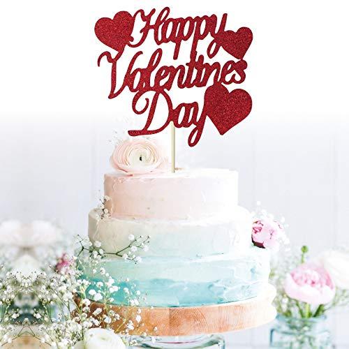 GrantParty Glitter Red Happy Valentines Day Cake Topper I Love ...