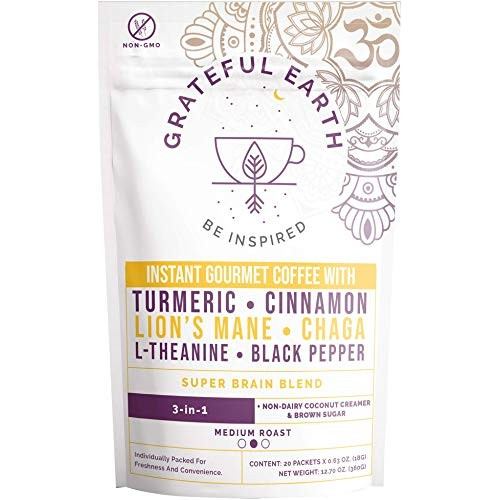 Grateful Earth: Super Brain Blend Instant Coffee - Medium Roast,...