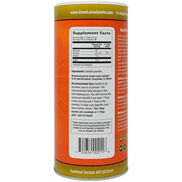 Great Lakes Gelatin, 16 Oz Cans: 1 Unflavored Kosher Beef and ...