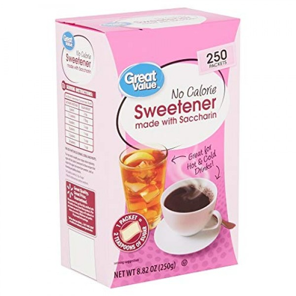 Sweetener with Saccharin Packets, No Calorie, 8.82 oz, 250 Count...